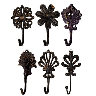 Black Iron Wall Hooks (Pack of 6)