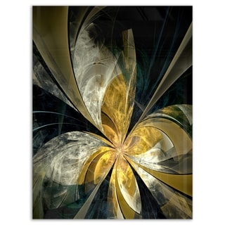 Symmetrical White Gold Fractal Flower - Modern Floral Glossy Metal Wall Art