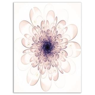 Perfect Glowing Fractal Flower in Purple - Floral Glossy Metal Wall Art