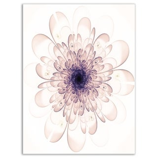 Perfect Glowing Fractal Flower in Purple - Floral Glossy Metal Wall Art