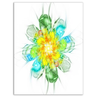 Yellow Blue Glowing Fractal Flower - Floral Glossy Metal Wall Art
