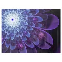 Purple Fractal Flower Petals Close-up - Floral Glossy Metal Wall Art