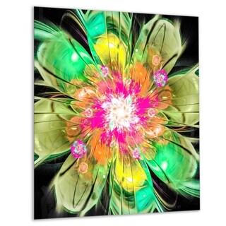 Green Fractal Flower Petals Close-up - Floral Glossy Metal Wall Art