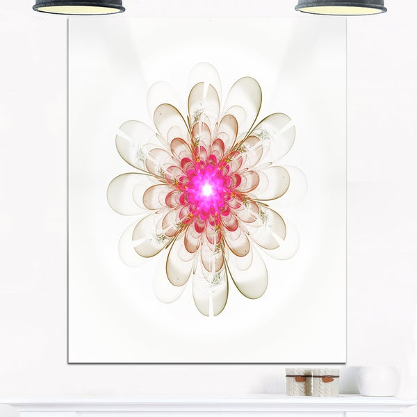Simple White Pink Fractal Flower Art - Floral Glossy Metal Wall Art