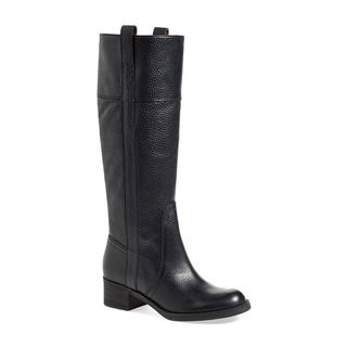 Lucky Brand Heloisse Black Leather Pull-on Western Knee-high Riding Boots