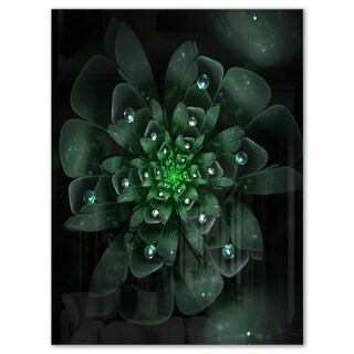 Glowing Crystal Green Fractal Flower - Floral Glossy Metal Wall Art