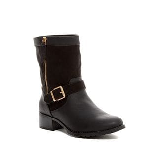 Charles David Janelle Black Leather Suede Gold Buckle Ankle Moto Boot