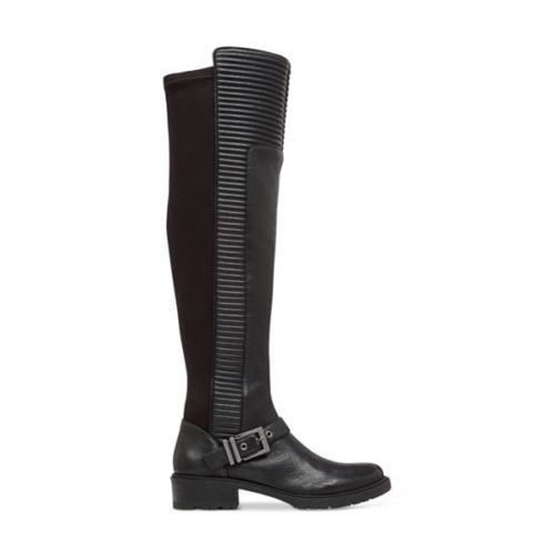 BCBG Sigmond Black Leather Tall Over The Knee Back Moto Boots