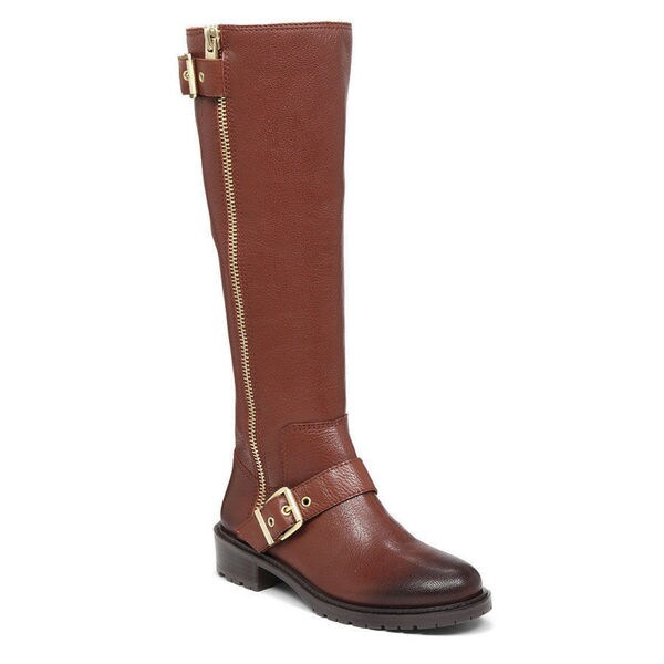 BCBG Women's Shayna Distressed Brown Leather Knee-high Boots with a Gold Buckle and Lug Sole