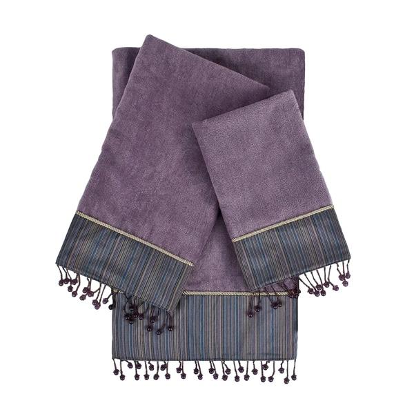 Sherry Kline Silk strie Lavander 3-piece Decorative Embellished Towel Set