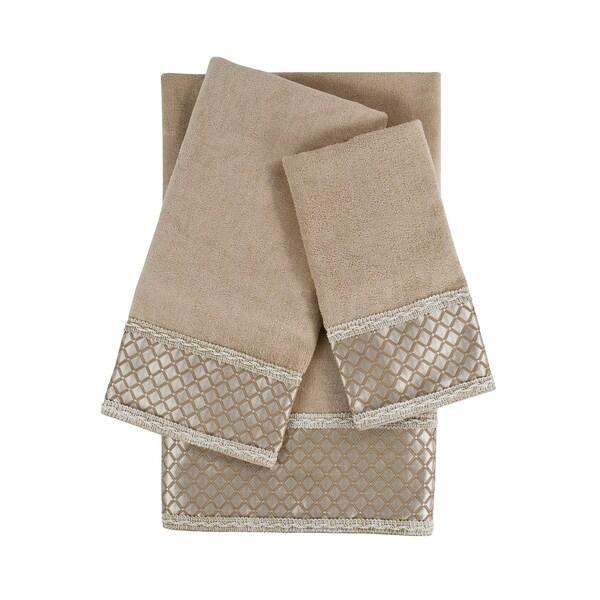 Sherry Kline Manor Taupe 3-piece Decorative Embellished Towel Set