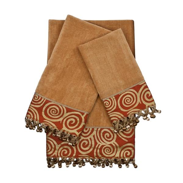 Sherry Kline Swirley Nugget 3-piece Decorative Embellished Towel Set