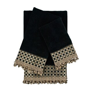 Sherry Kline Linden Black 3-piece Decorative Embellished Towel Set