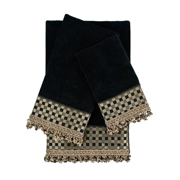 Sherry Kline Linden Black 3-piece Decorative Embellished Towel Set