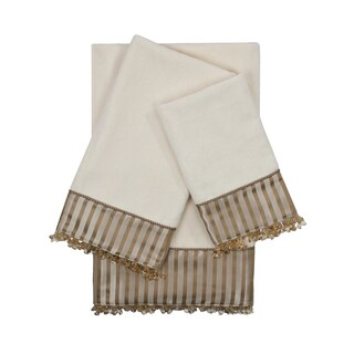 Sherry Kline Bellevue Ecru 3-piece Decorative Embellished Towel Set