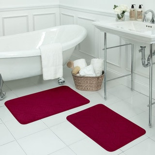 Naoli Micro Plush 2-Piece Memory Foam Bath Mat Set w/ BounceComfort Technology