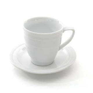 BergHOFF Elan White Porcelain 9-ounce Tea Cup and Saucer Set