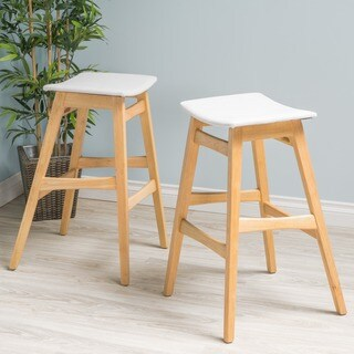Emmaline Mid-Century Fabric Bar Stool (Set of 2) by Christopher Knight Home
