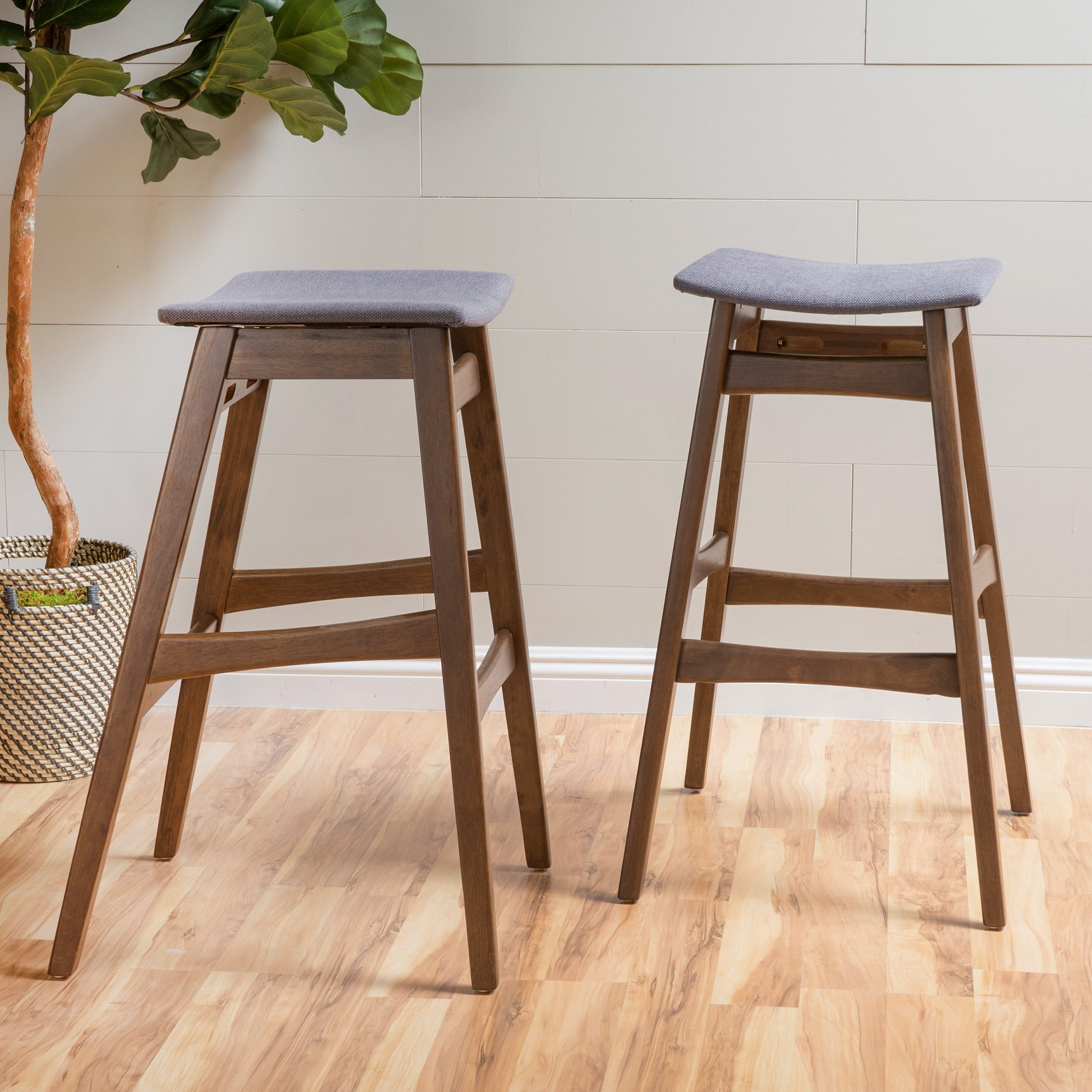 Emmaline 30 Inch Mid Century Fabric Bar Stool (Set Of 2) By