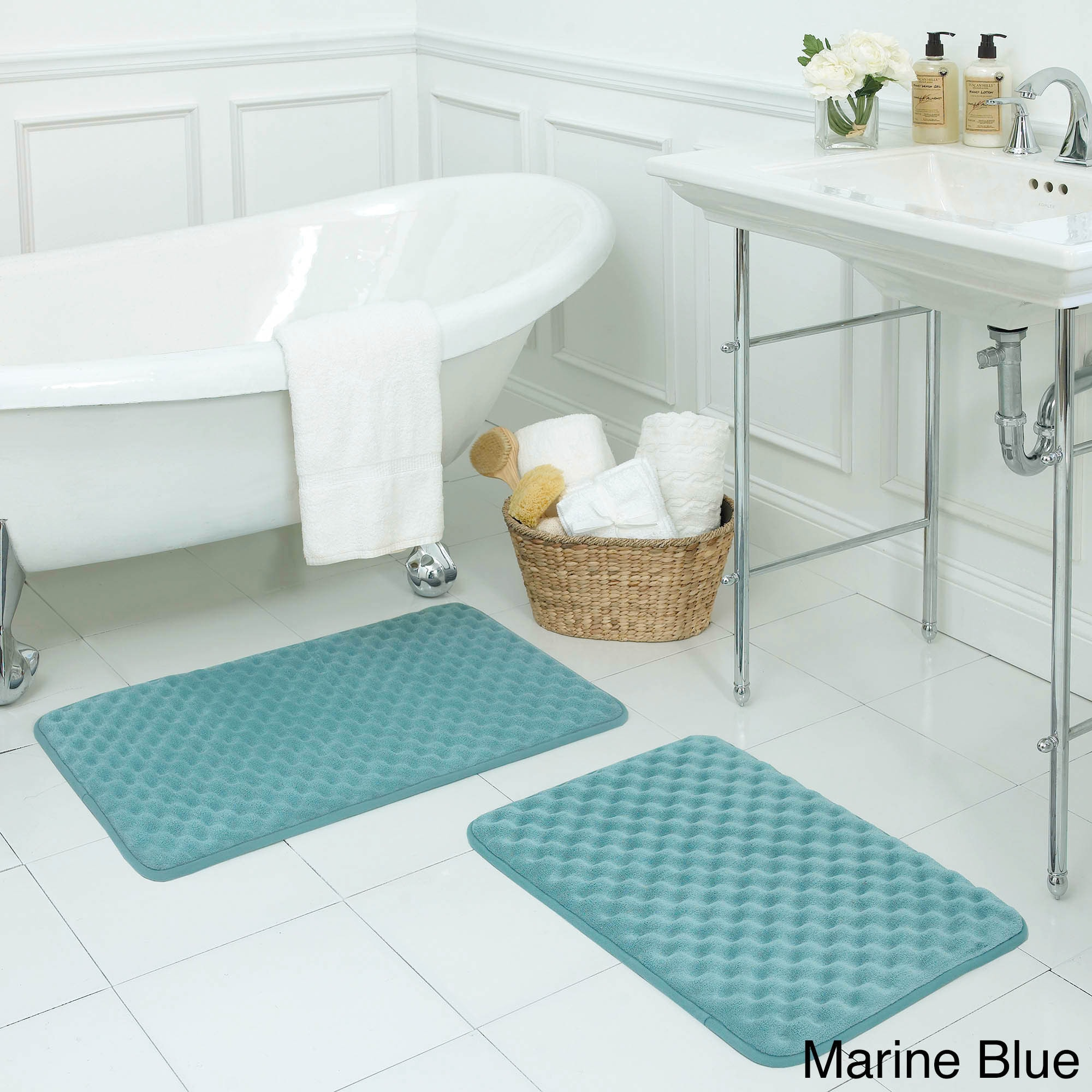2 Piece Shaggy Chenille Bath Mat Set-Teal Blue-Brand New in Package