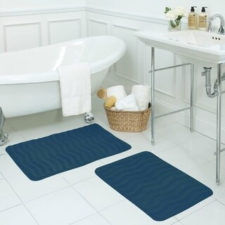 Waves Memory Foam 17 x 24-inch 2-piece Bath Mat Set with BounceComfort Technology