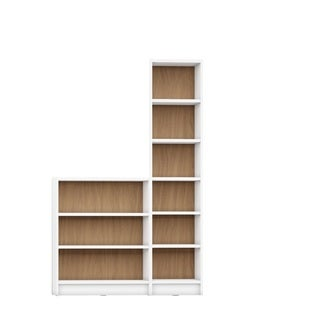 Manhattan Comfort Greenwich White/Brown MDF 2-piece Bookcase with 9 Wide and Narrow Shelves