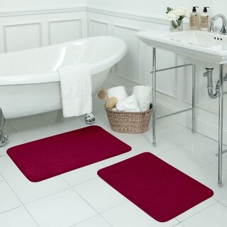 Naoli Micro Plush 17 x 24-inch 2-piece Memory Foam Bath Mat Set with BounceComfort Technology
