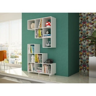 Manhattan Comfort Sophisticated Cascavel Stair Cubby with 6 Cube Shelves (Set of 2)