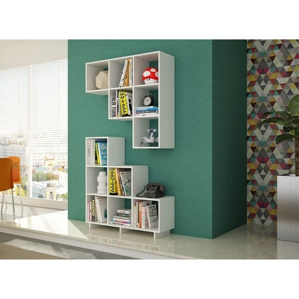 Manhattan Comfort Sophisticated Cascavel Stair Cubby with 6 Cube Shelves (Set of 2). Opens flyout.