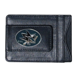 NHL Sports Team Logo San Jose Sharks Leather Cash And Card Holder