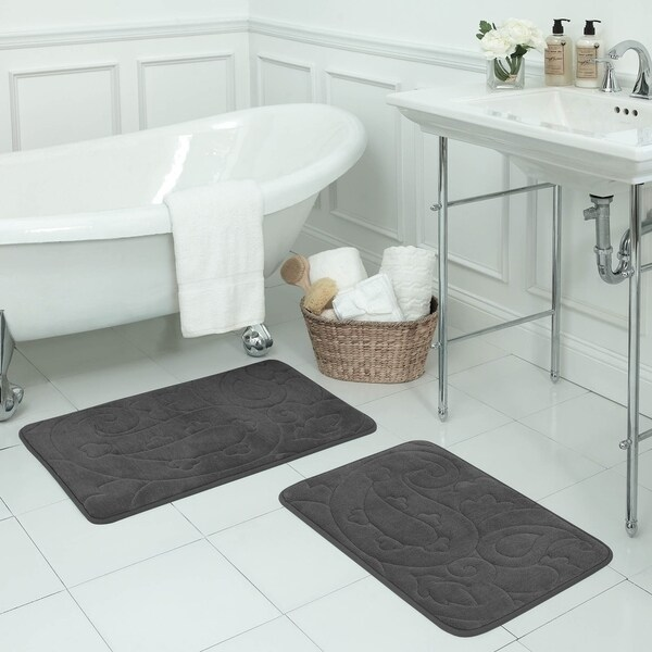 Pelton Micro Plush 2- Piece Memory Foam Bath Mat Set with BounceComfort Technology