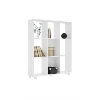 Manhattan Comfort Natal 3.0 White Wood 9-shelf Bookcase
