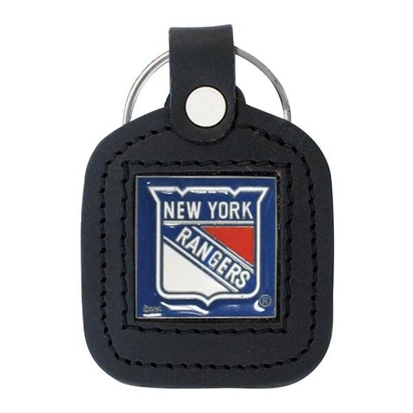NHL Sports Team Logo New York Rangers Black Leatherette Square Key Chain