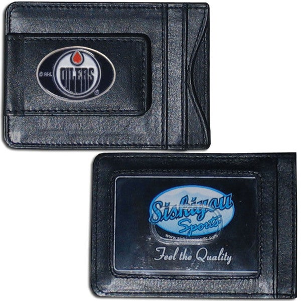 NHL Sports Team Logo Edmonton Oilers Leather Slim Cash and Card Holder