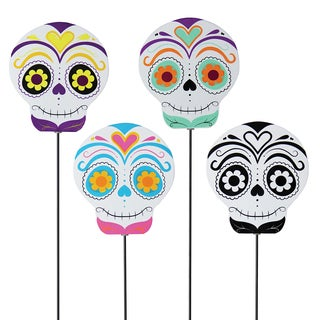 Metal Multicolor Sugar Skull Garden Stake (Set of 4)