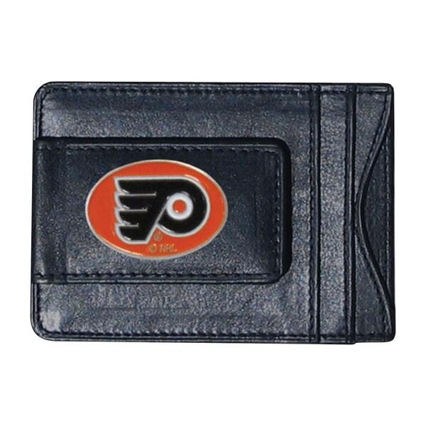 NHL Sports Team Logo Philadelphia Flyers Leather Cash and Card Holder