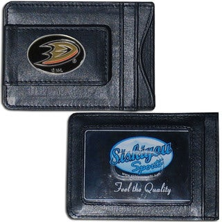 NHL Sports Team Logo Anaheim Ducks Black Leather Cash And Cardholder