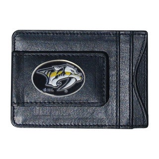 NHL Sports Team Logo Nashville Predators Leather Cash and Card Holder