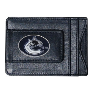 Men's NHL Vancouver Canucks Sports Team Logo Black Leather Cash and Cardholder