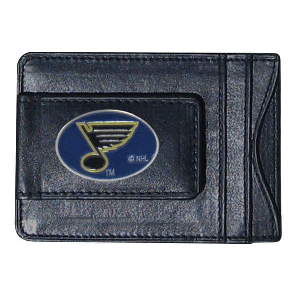 NHL St. Louis Blues Black Leather Sports Team Logo Cash and Cardholder