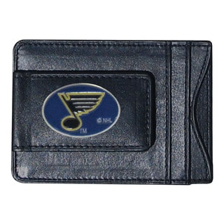 NHL St. Louis Blues Black Leather Sports Team Logo Cash and Cardholder