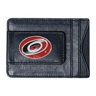 NHL Sports Team Logo Carolina Hurricanes Black Leather Cash And Card Holder