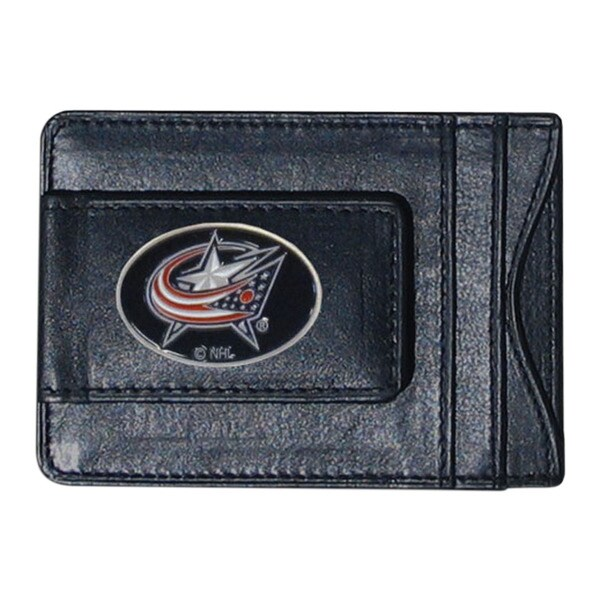NHL Columbus Blue Jackets Black Leather Cash and Card Holder