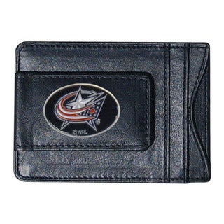 NHL Columbus Blue Jackets Black Leather Cash and Card Holder