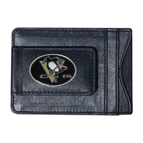 NHL Sports Team Logo Pittsburgh Penguins Leather Cash And Card Holder