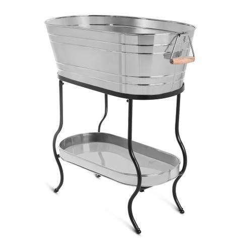BirdRock Home Stainless Steel Beverage Tub with Stand