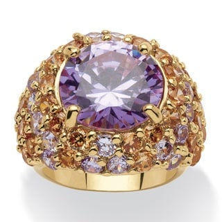 PalmBeach 13.50 TCW Round Lavender Cubic Zirconia 14k Gold-Plated Ring Color Fun