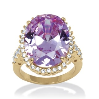 PalmBeach 19.92 TCW Lavender Oval-Cut Cubic Zirconia Cocktail Ring 14k Gold-Plated Color Fun