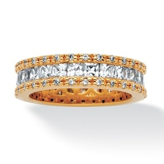 2.62 TCW Princess-Cut Cubic Zirconia Eternity Ring in Gold-Plated Classic Cz