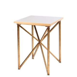 Blanc White/Gold Wood/Metal/Marble Square Side Table